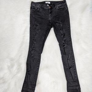 Forever21 Black Heavy Distressed Skinny Jeans Jean